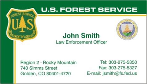 Us Forest Service Card Template by Policebusinesscards Display Business Cards