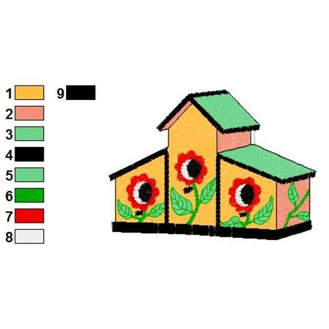 embroidery design house bird house 01 embroidery design