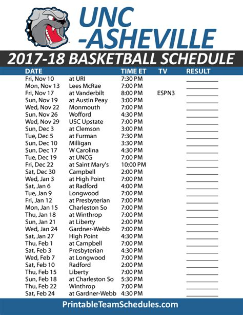 printable unc basketball schedule printable unc asheville basketball schedule 2017 18