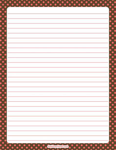 printable polka dot stationery printable pink and brown polka dot stationery