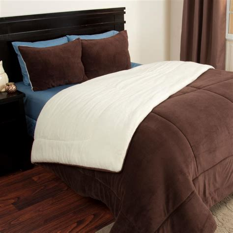 fleece comforter queen trademark global sherpa fleece chocolate 3 piece full