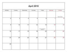 Calendar 2018 With Holidays Excel April 2018 Calendar With Holidays Canada Calendar