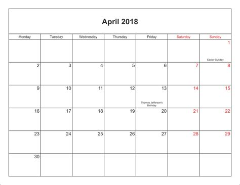 Calendar 2018 Excel India With Holidays April 2018 Calendar With Holidays Calendar Template Excel
