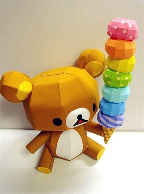 Rilakkuma Papercraft - rilakkuma holding rainbow paper model by