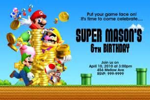 free template super mario bros birthday invitations