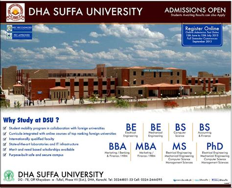Bba Mba Colleges by Dha Suffa Bs Be Bba Mba Ms Phd Admissions 2017