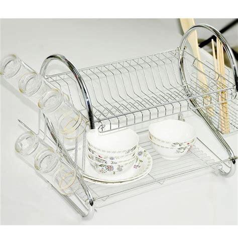 Rak Piring Tempat Gelas 2susun Stainless Ukuran Lebih Besa Berkuali jual alat keperluan dapur rumah tangga rak rack piring