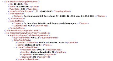 Muster Xml Zugferd Durchbruch F 252 R Die Elektronische Rechnung Mailconsult