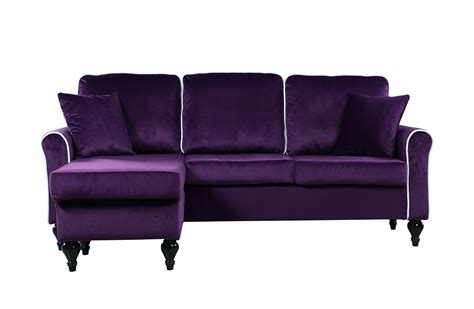 Velvet Sectional Sofa Traditional Small Space Velvet Sectional Sofa With Reversible Chaise Purple Ebay