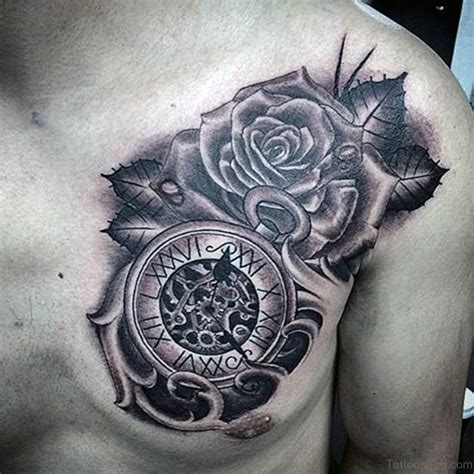 chest rose tattoos 64 mind blowing clock tattoos for chest