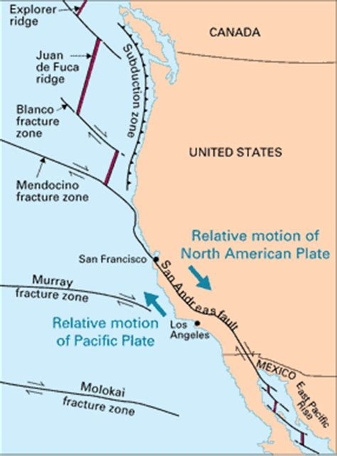 tectonic plates map united states defining plate boundaries