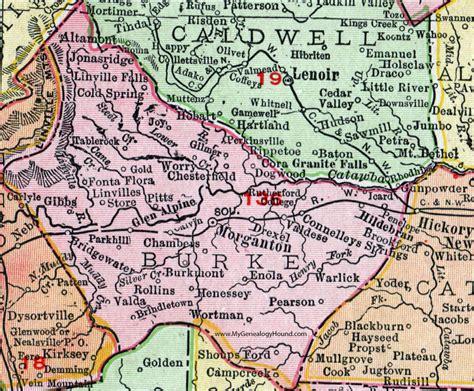 Burke County Nc Records Burke County Carolina 1911 Map Rand Mcnally Morganton Connellys Springs
