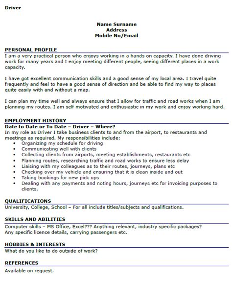 sle of resume for personal driver driver cv exles icover org uk