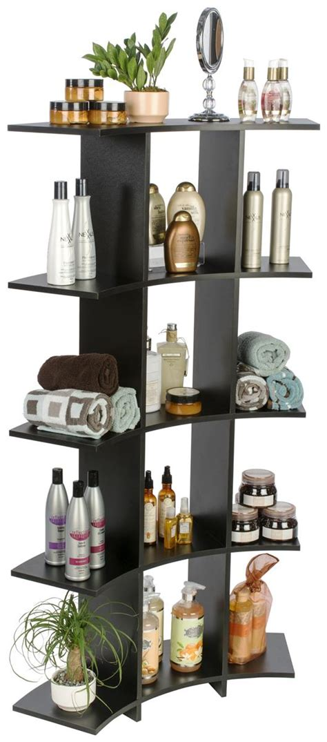 curved wooden shelves  contoured open front storage cubes