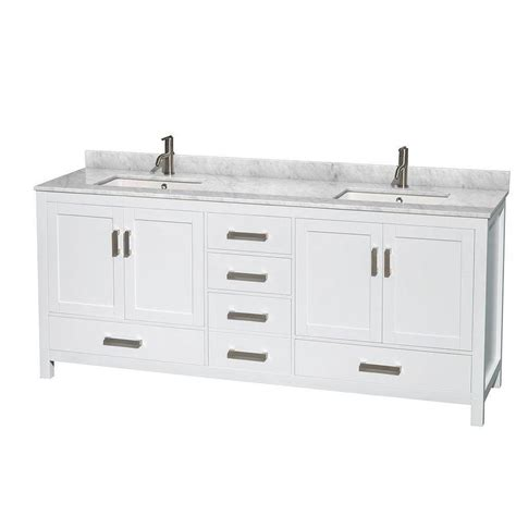 bath vanity combos in canada canadadiscounthardware com sheffield 80 in double vanity in white with marble vanity