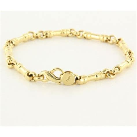 estate tiffany  mens  yellow gold link bracelet