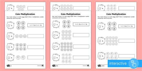 higher ability year 2 maths coin multiplication homework