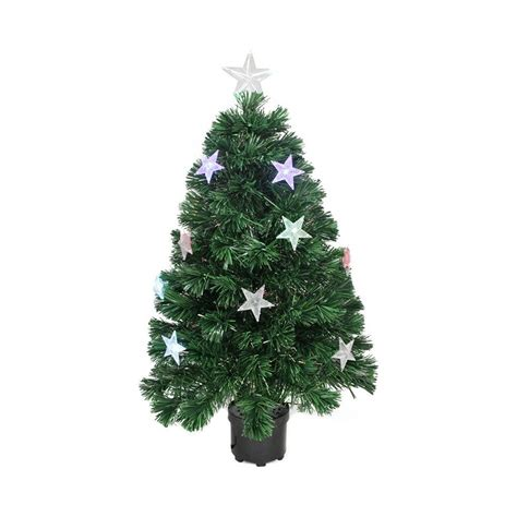 fiber optic artificial christmas trees lowes shop northlight 4 ft pre lit artificial tree with 24 color changing fiber optics and