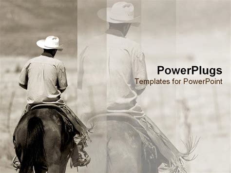 western powerpoint template lone cowboy rides his powerpoint template