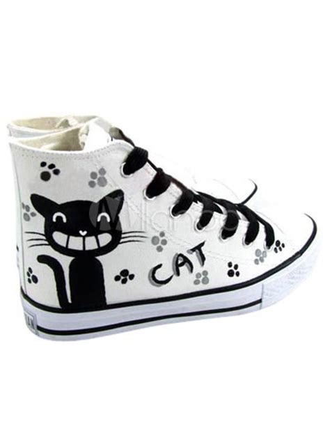 Fish Cat Shoes fashional white canvas cat fish lace up painted shoes milanoo