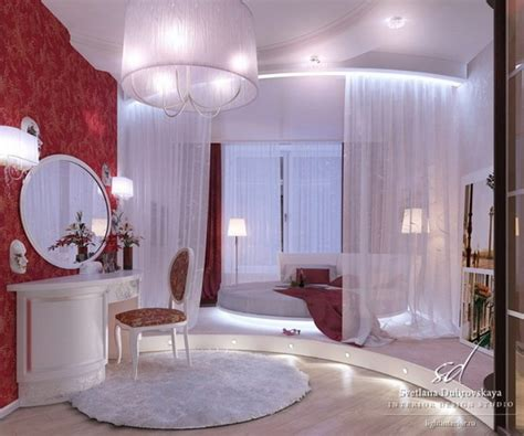 awesome bedroom decoration   bed  curtain red