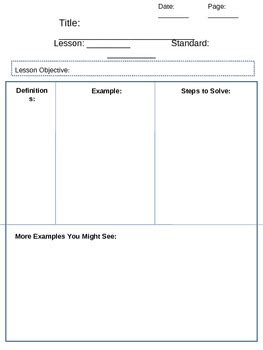 math journal template math journal pages template by leslie griffith tpt