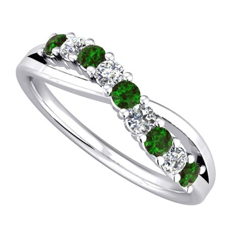 9ct white gold emerald and cross eternity