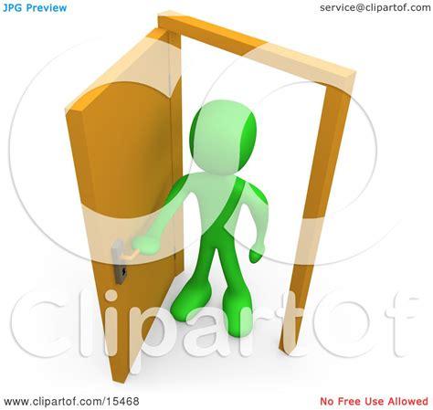 figure open or not green figure standing in an open doorway uncertain of