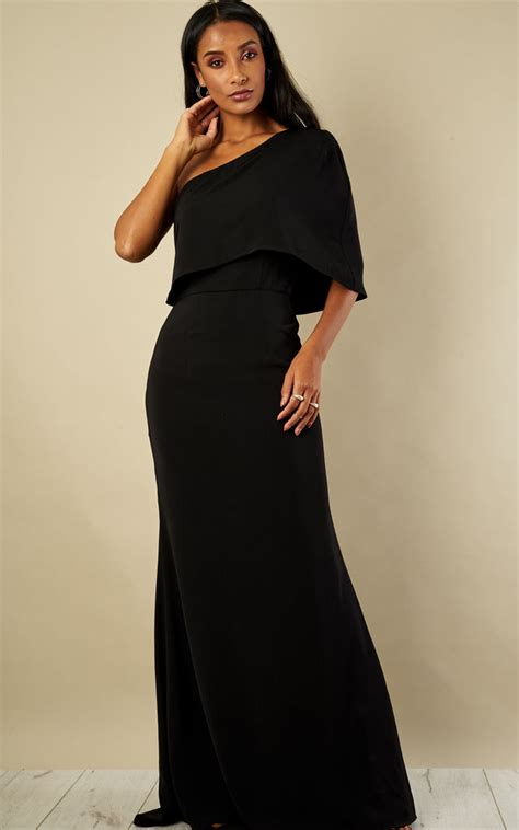 One Shoulder Maxi Dress black one shoulder maxi dress silkfred