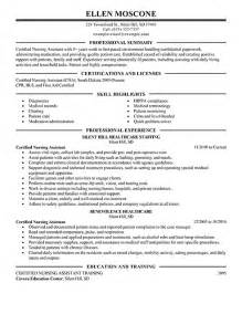 nursing assistant resume sles cna resume summary certified nursing assistant resume