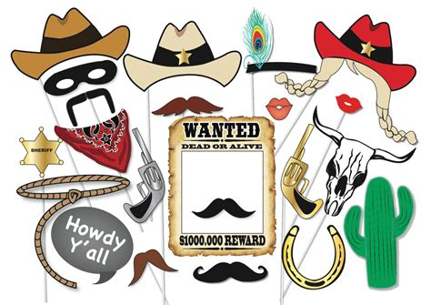 free printable photo booth props cowboy cowboy or cowgirl photo booth party props set 25 piece