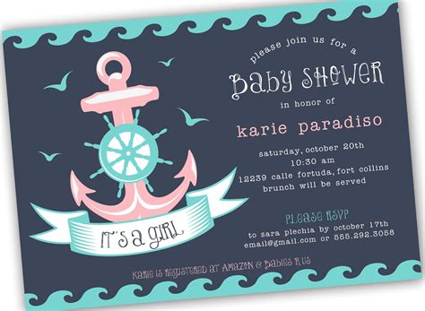 nautical themed boy or neutral baby shower invite 4x6