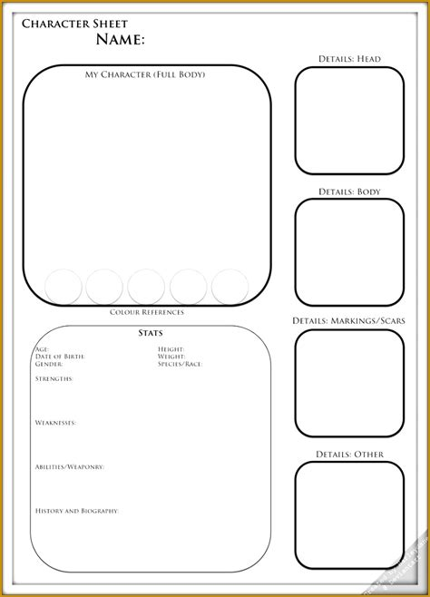 character profile sheet template fabtemplatez