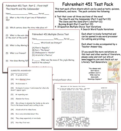 Fahrenheit 451 Section 2 by Worksheets Fahrenheit 451 Worksheets Chicochino