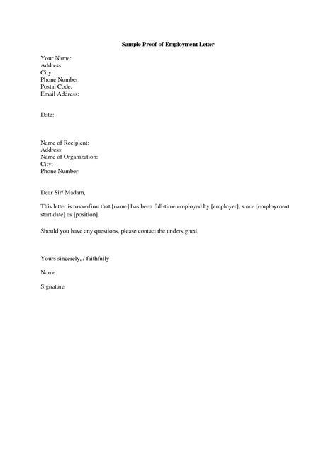 Employment Letter Proof sle address verification letter template letter