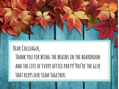 Thank You Letter Colleague appreciation message for co workers just b cause