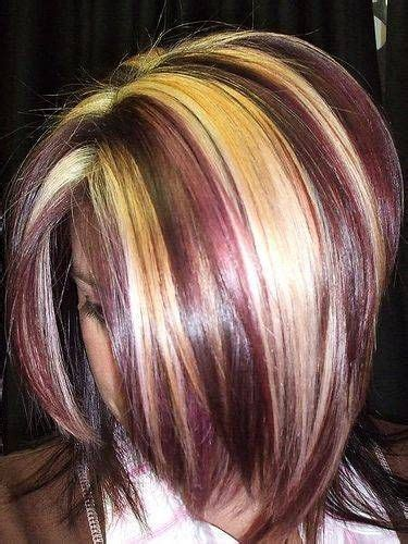 how to dye hair with black chunks burgundy and blonde color chunks hair beauty that i