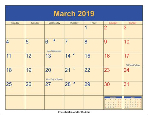 Calendar 2019 Printable With Holidays March 2019 Calendar Printable With Holidays Pdf And Jpg