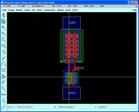 layout design of nand gate virtuoso tutorial