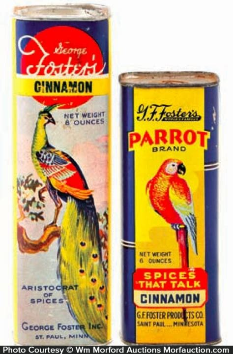 Spice Cans Antique Advertising Foster S Parrot Spice Cans Antique
