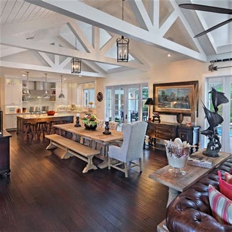 Kitchen And Dining Room Open Floor Plan by The Beams The Layout Galley Kitchen Into Dining