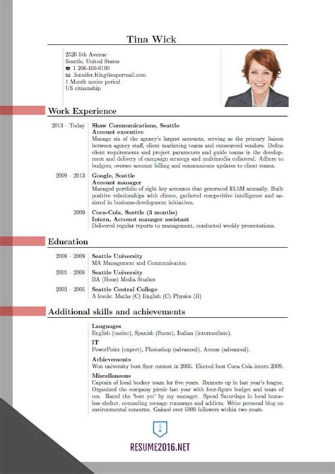 most effective resume formats 2016 updated resume format 2016 updated structure
