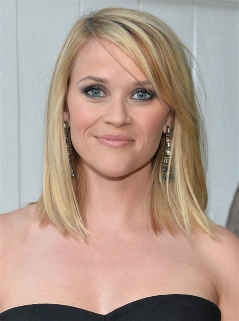 medium straight hairstyles with bangs reese witherspoon shoulder length straight bob hairstyle