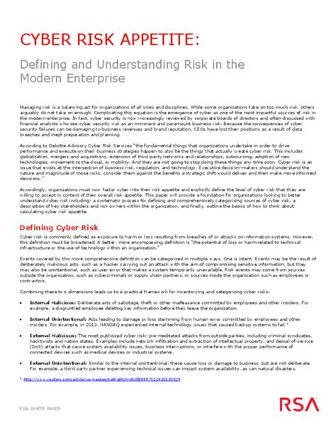 risk appetite template cyber risk appetite defining and understanding risk in