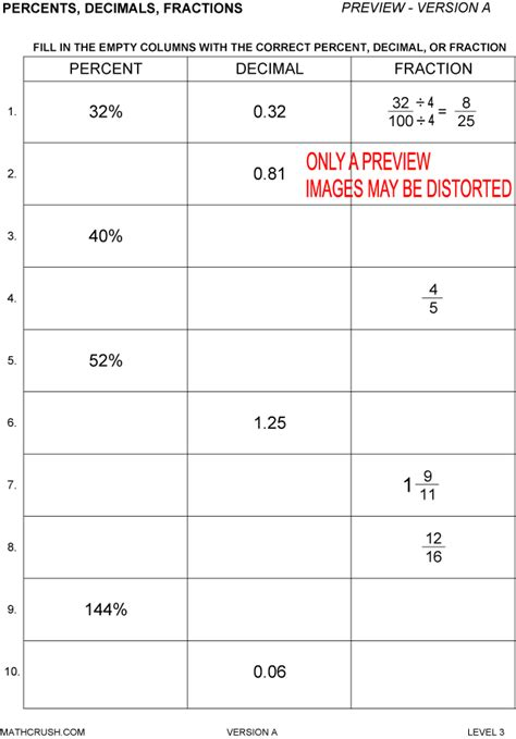 Percent Worksheets by Math Crush
