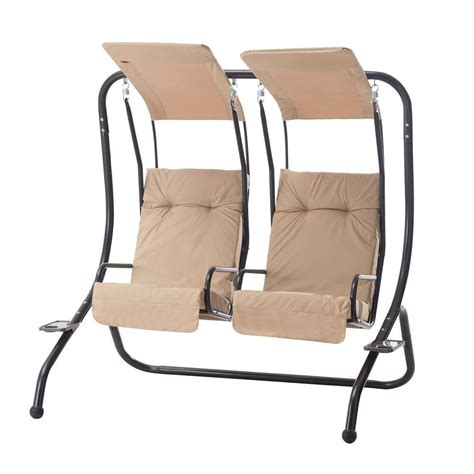 2 person swing sunjoy sherborn 2 person steel patio swing with beige