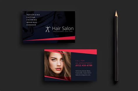 hair salon business card template for photoshop illustrator