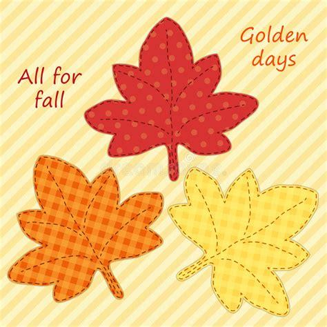 cute handmade autumn leaves as retro fabric applique stock