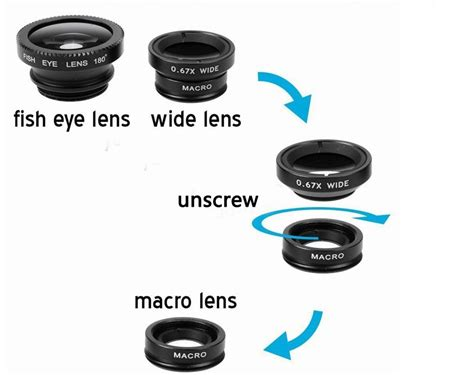 Universal Macro And Wide Angle Detachable Lens universal magnetic catche 3 in 1 fish eye wide angle macro fisheye mobile phone lens for iphone6