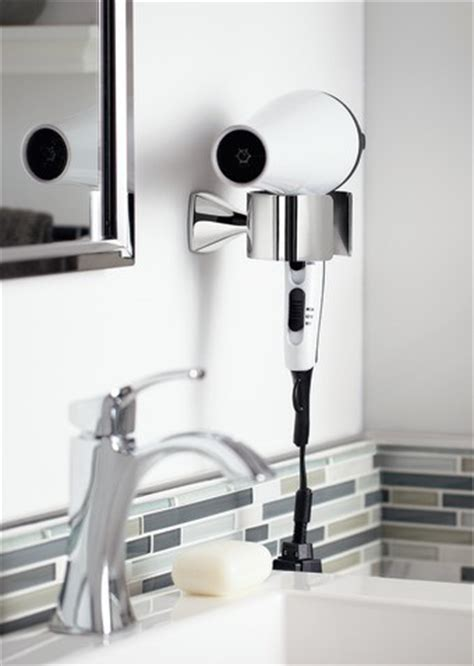moen voss chrome hair dryer holder transitional